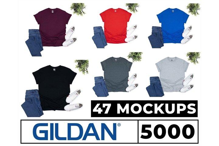 Gildan 5000, 2000, 64000 Mockups 47 Colors Flat Lay White Bg