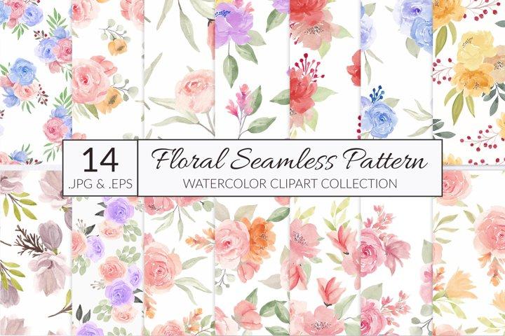 14 watercolor flower seamless pattern