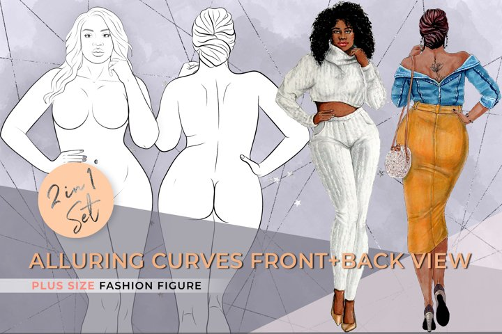 Alluring Curves Printable Front Back View - Plus Size Croqui