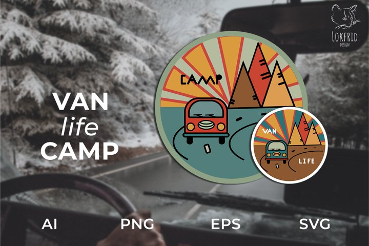 Van life Graphic bundle. Two round logos in doodle style