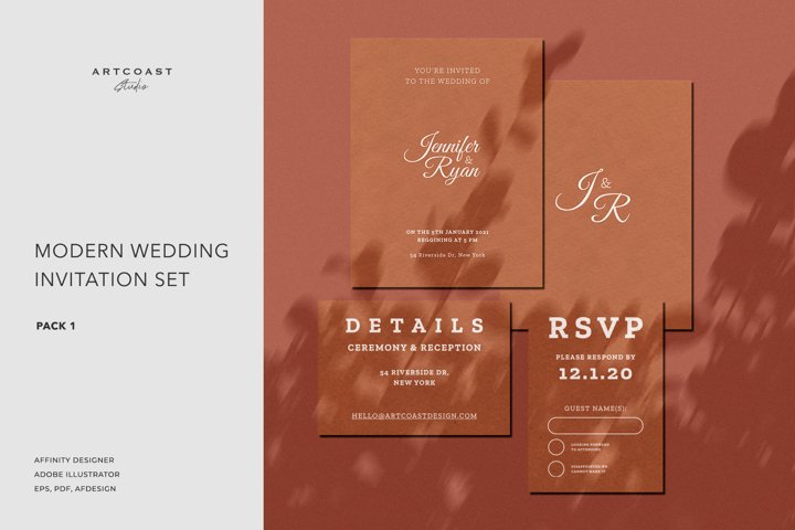 Modern Wedding Invitation Set