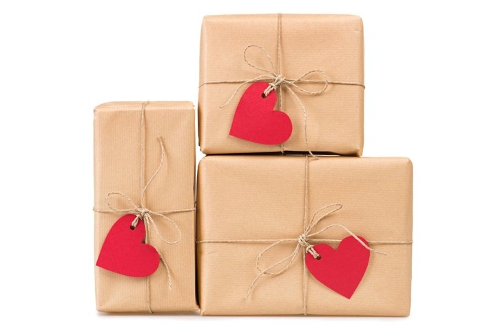 Gift boxes heart shaped labels