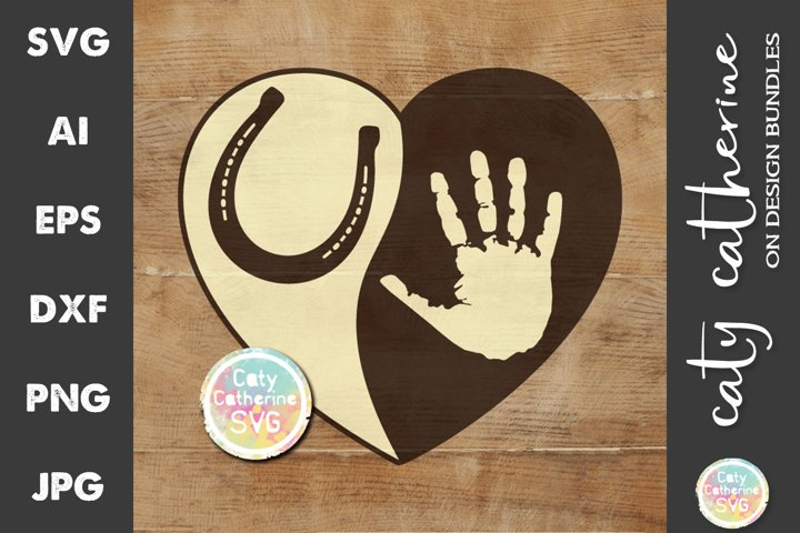 Love Heart with Hand and Pet Horse Hoof Print SVG Cut File
