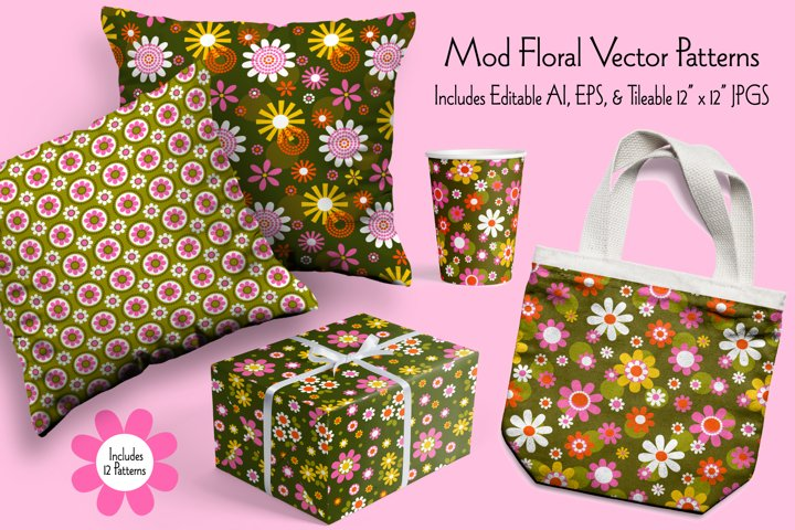 Mod Floral Seamless Vector Patterns