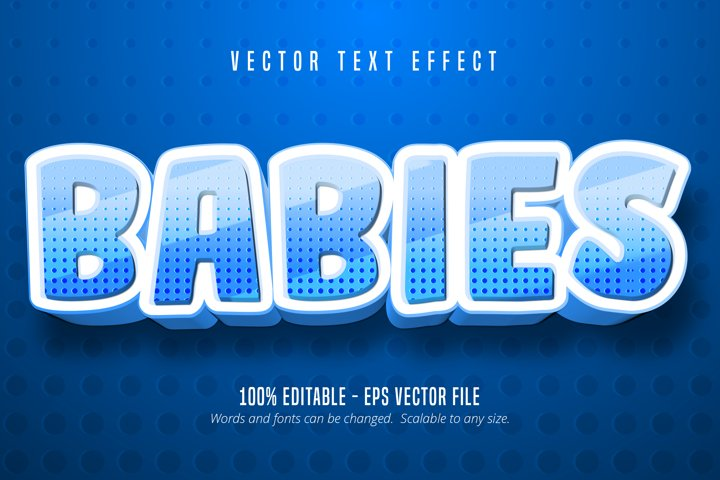 Babies text, cartoon style editable text effect
