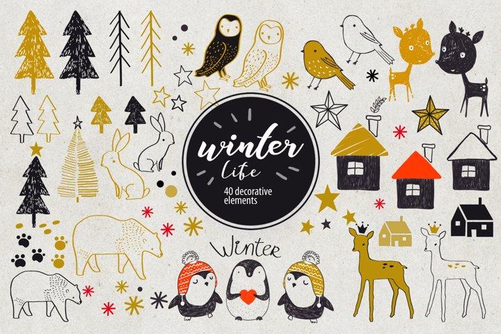 Winter Life- 40 decorative elements