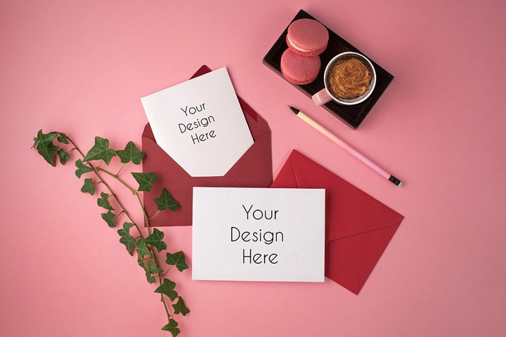 Cards with pink envelopes Mockup Photography #2, PSD
