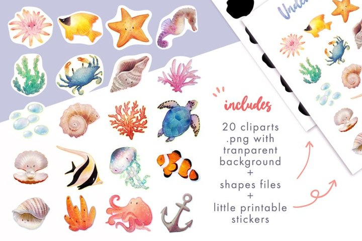 20 Coral reef clipart printable stickers set
