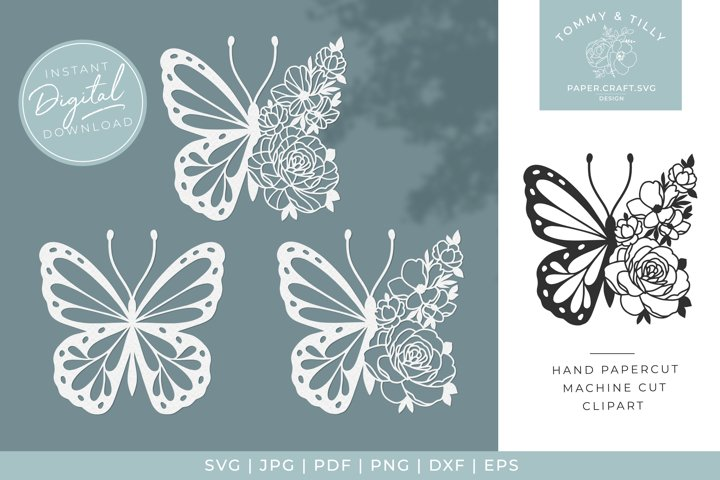 Flower Butterfly x 3 - SVG DXF PNG EPS JPG PDF Cutting
