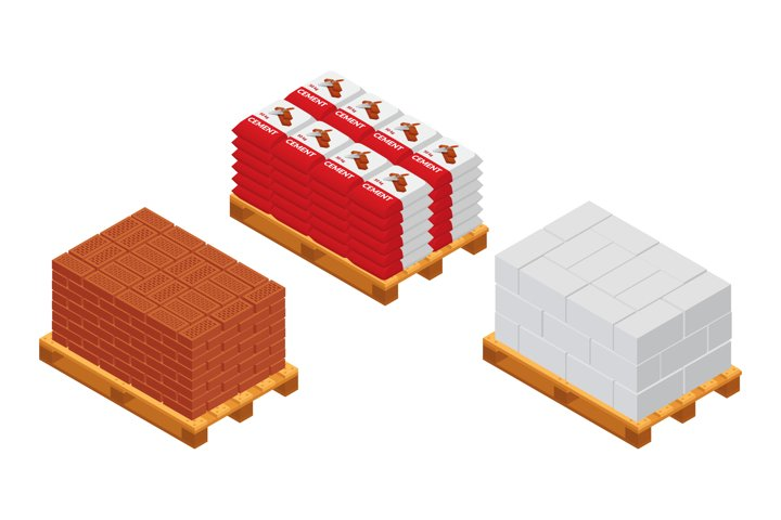 Set of vector pallet with bricks, blocks and cement bags.