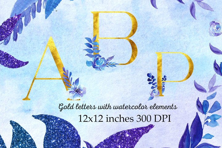 Gold letters with watercolor elements,Gold letters clipart