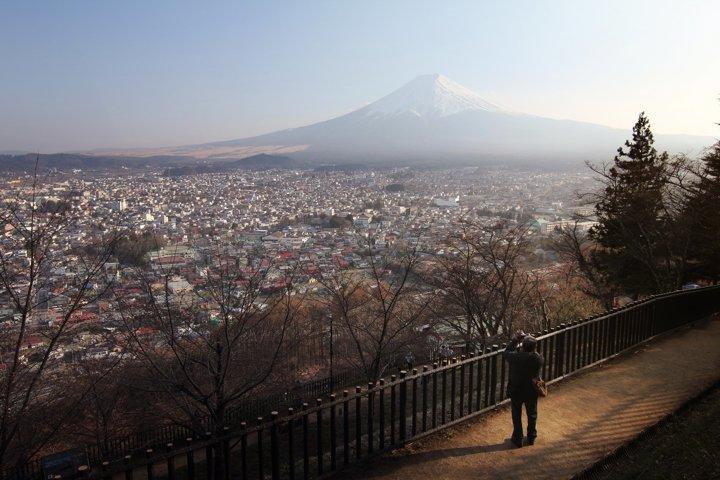 Man photographer at Arakurayama Sengen Park