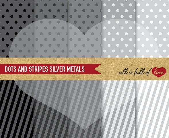 Silver Background Patterns Polka Dots and Stripes Digital Paper Pack in shades of grey