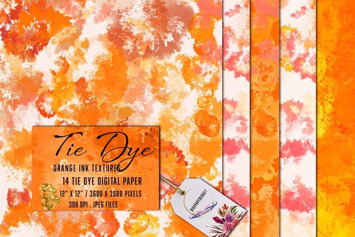 Orange Tie Dye, Tie Dye Digital Paper, Ink textures, Cards