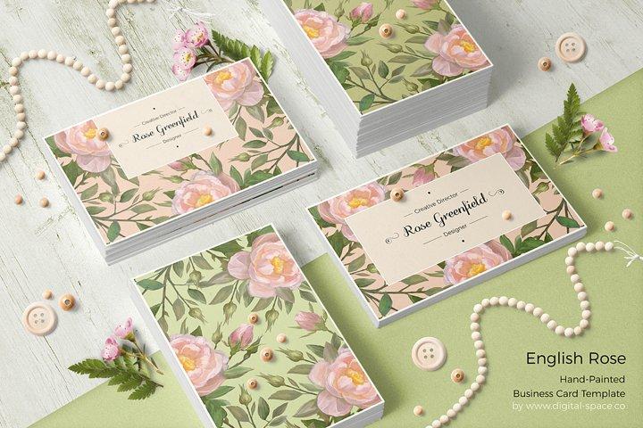 English Rose PSD Business Card Template