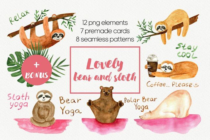 Cute sloth PNG and yoga bear, polar bear watercolor clipart.