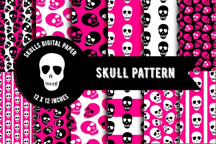 Skull pattern, Skull digital paper, Horror pattern
