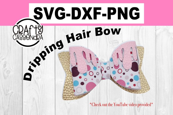 Halloween hair bow - dripping - Svg fle for diy faux leather example