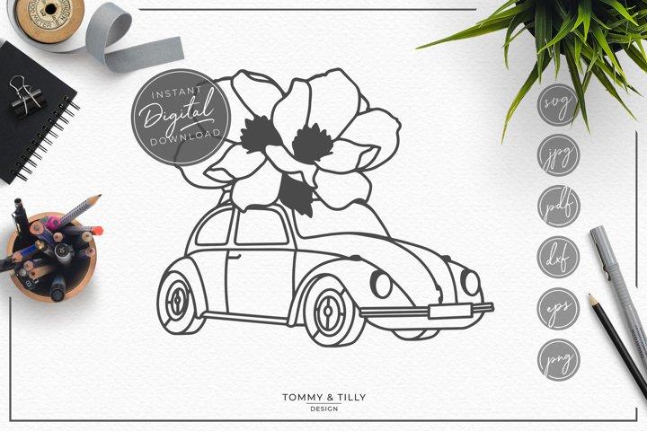 Floral Car - SVG EPS DXF PNG PDF JPG