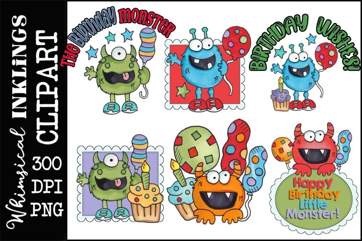 Birthday Monsters- Clipart/Sublimation Bundle