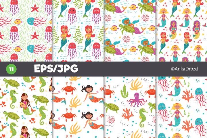 Set Mermaid and Sea Life digital paper. Undersea pattern