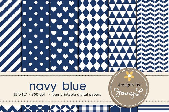 Navy Blue Digital Papers