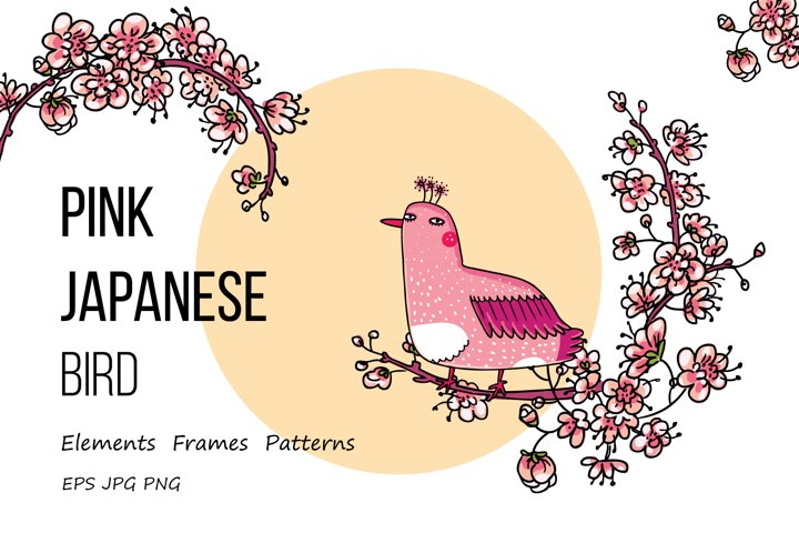Pink Japanese Bird - Floral set example