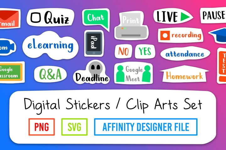 e-Learning Digital Stickers Set