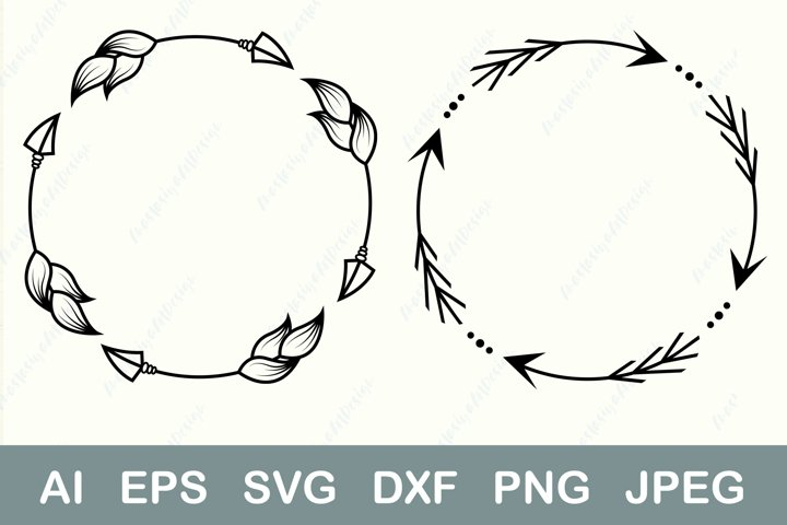 Arrow circle border svg, Monogram frame dxf, Boho frame dxf