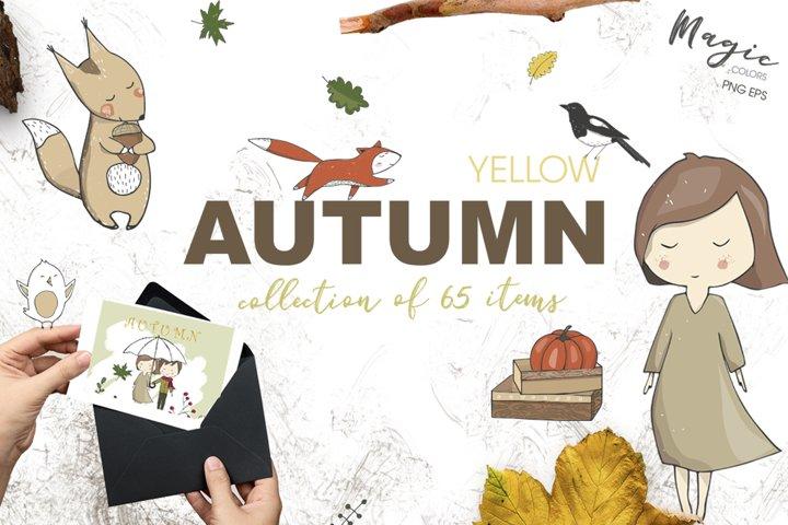 Yellow Autumn Graphics Set