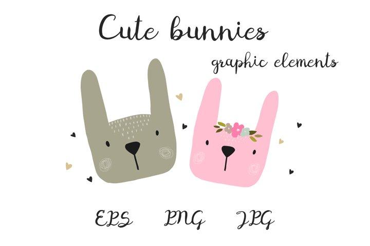 Cute bunnies, animals in cartoon style.