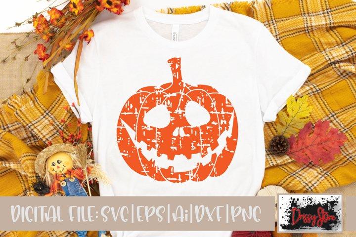 Halloween SVG DXF Ai EPS PNG Pumpkin Face Grunge