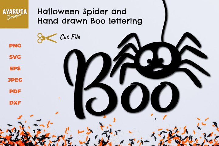 Halloween Spider Boo SVG, Spider web, Silhouette Cut file