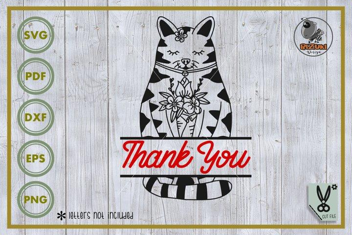 Animal SVG, Cat SVG, cat with flower, cat cut file