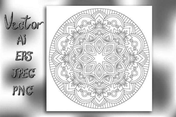 Flower Mandala. lace ornament in oriental style.