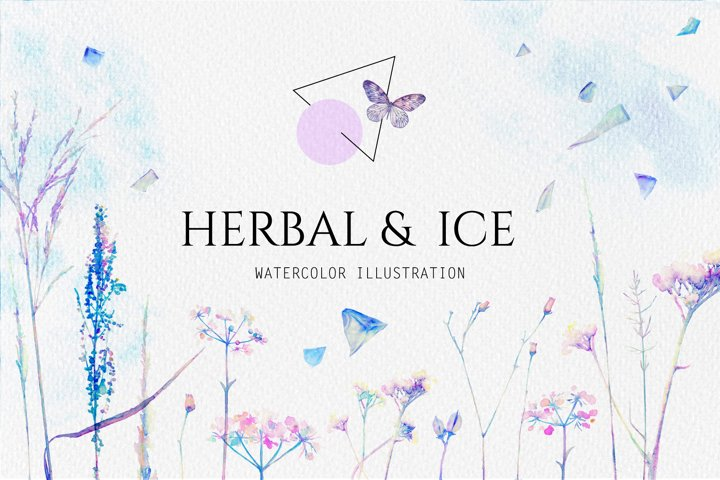 Watercolor floral design collection, herbal and ice