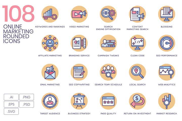 108 Online Marketing Icons Butterscotch Series