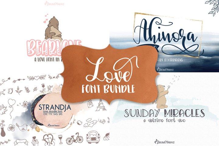 Love Font Bundle   Script Font, Doodle Font & Sans Serif