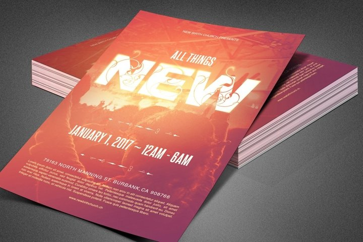 All Things New Church Flyer Template