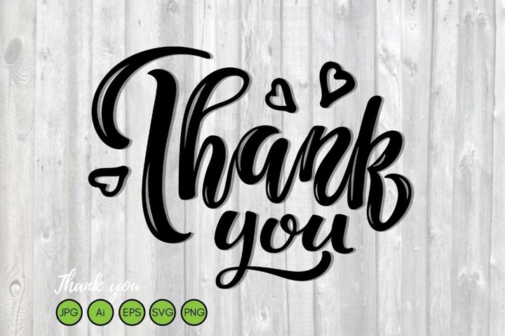 Thank You text handwritten lettering. Typography poster.