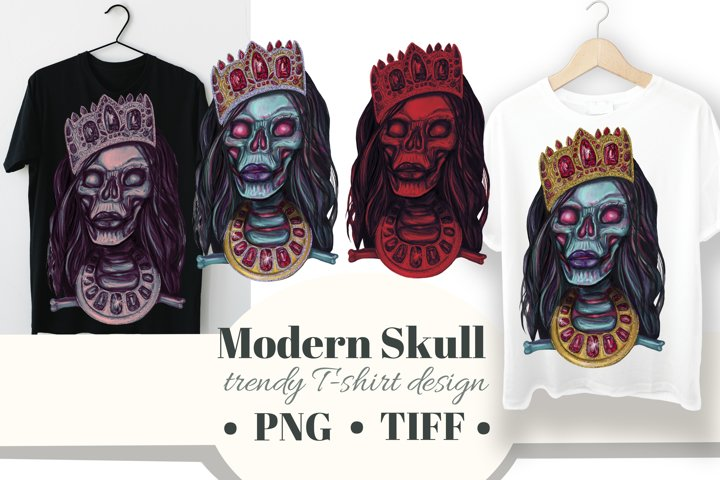 Skull clipart. Modern fashion skulls in crown and necklace.