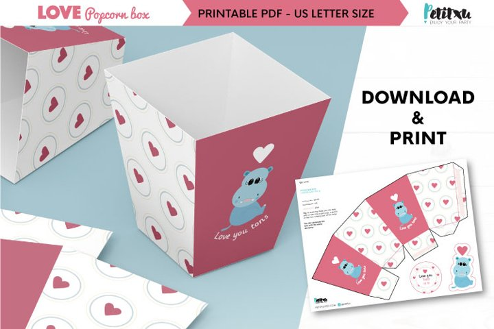 Valentines printable popcorn box, love DIY party decorations