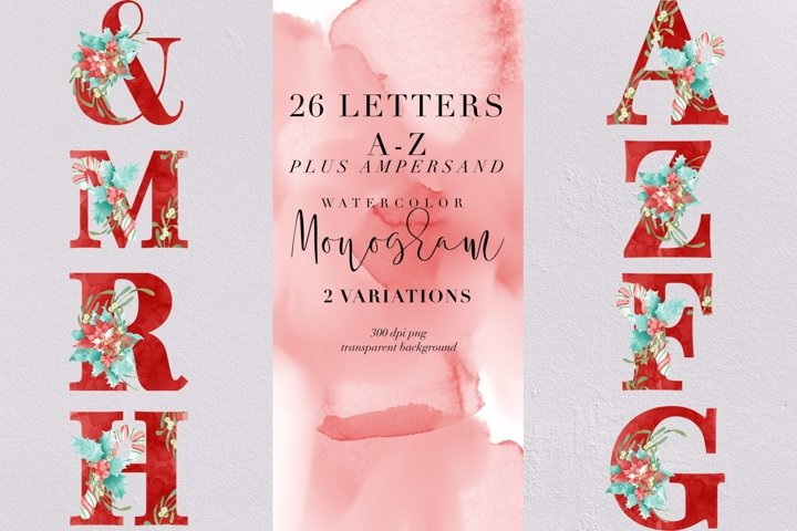 26 Christmas letters and Ampersand watercolor monogram, PNG