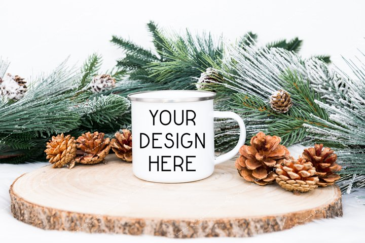 Blank White Enamel Coffee Cup Handle Mug Winter Mockup