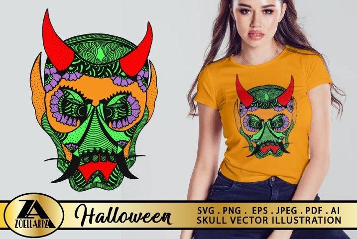 Halloween SVG Skull Devil Hand Drawn Vector Illustration