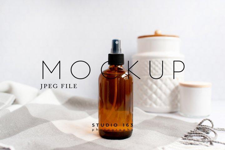 Soap Dispenser Mockup, Amber Bottle, Bath Stock Image, JPEG