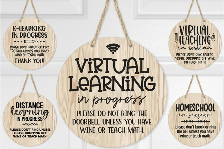 E-Learning Door Sign, Virtual Learning Sign, Homeschool Sign