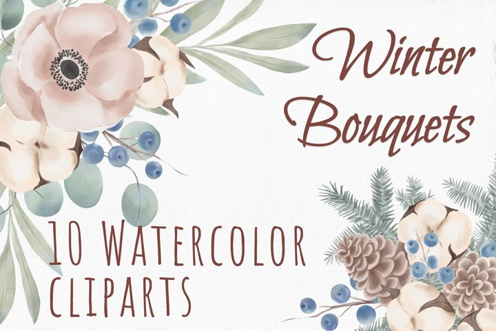 Watercolor winter clipart, watercolor christmas clipart, png