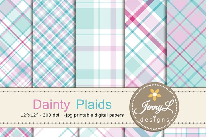 Dainty Pastel Plaid Digital Papers