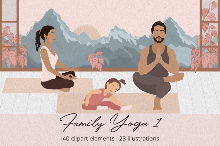 Family Yoga 1 Illustration Set